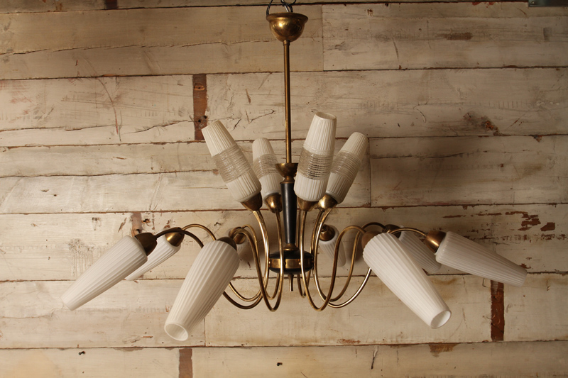 Mid Century 12 Arm Chandelier with Frosted Shades