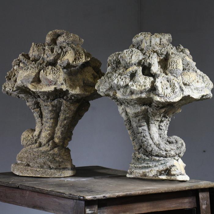A pair of Italian carved tufa stone cornucopia, late 19th or early 20th Century