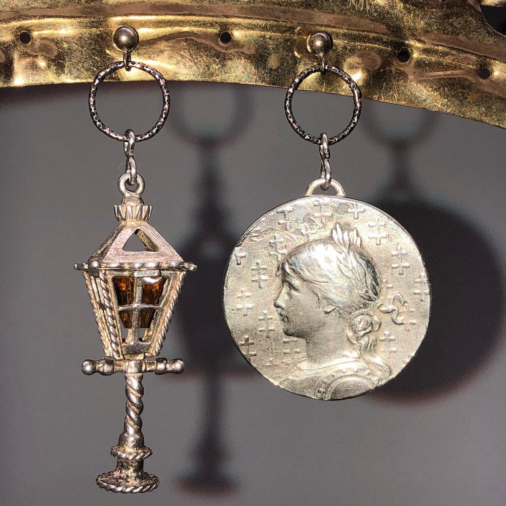 Mismatched Joan of Arc Lantern Earrings