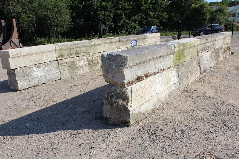 Antique French limestone bridge parapets