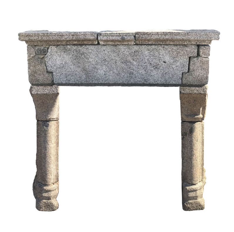 Antique monumental Gothic French fireplace in granite