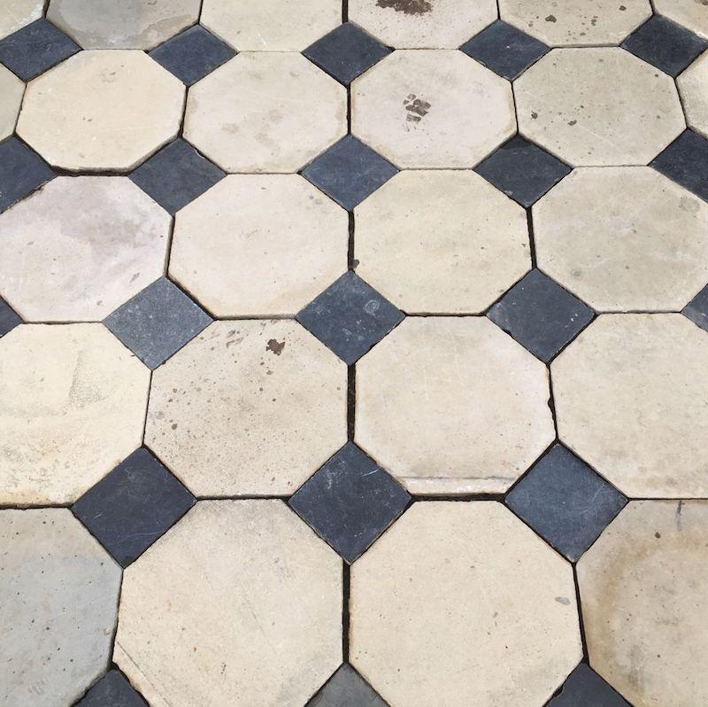 Antique limestone cabochon floor