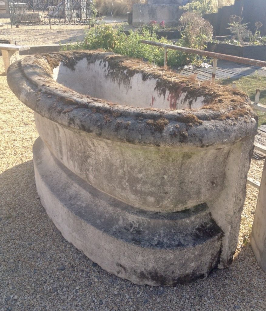 Antique French limestone wall fountain