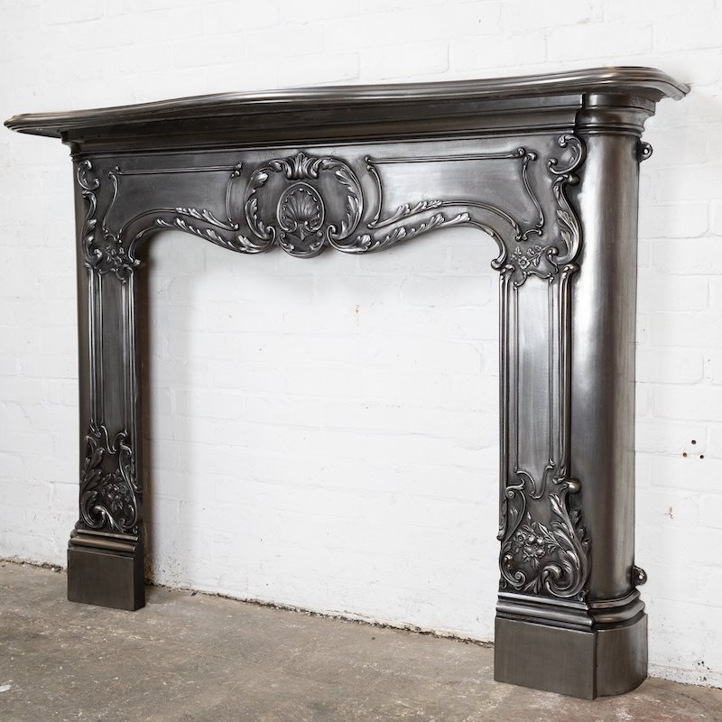 Antique Victorian Rococo Style Cast Iron Fireplace Surround