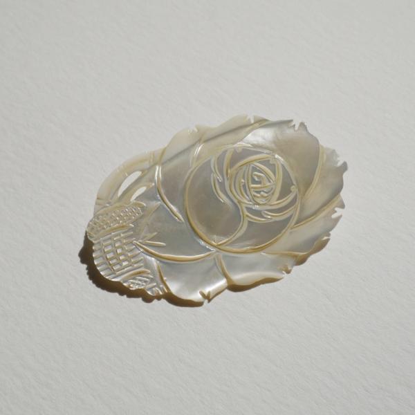 Vintage carved mother of pearl rose brooch