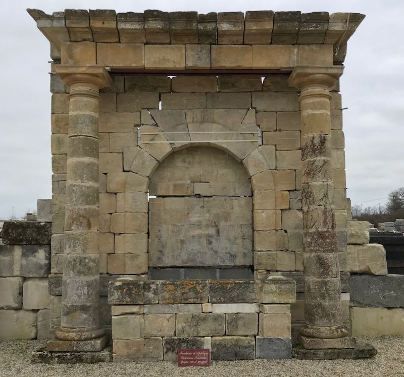 Monumental antique French wall fountain