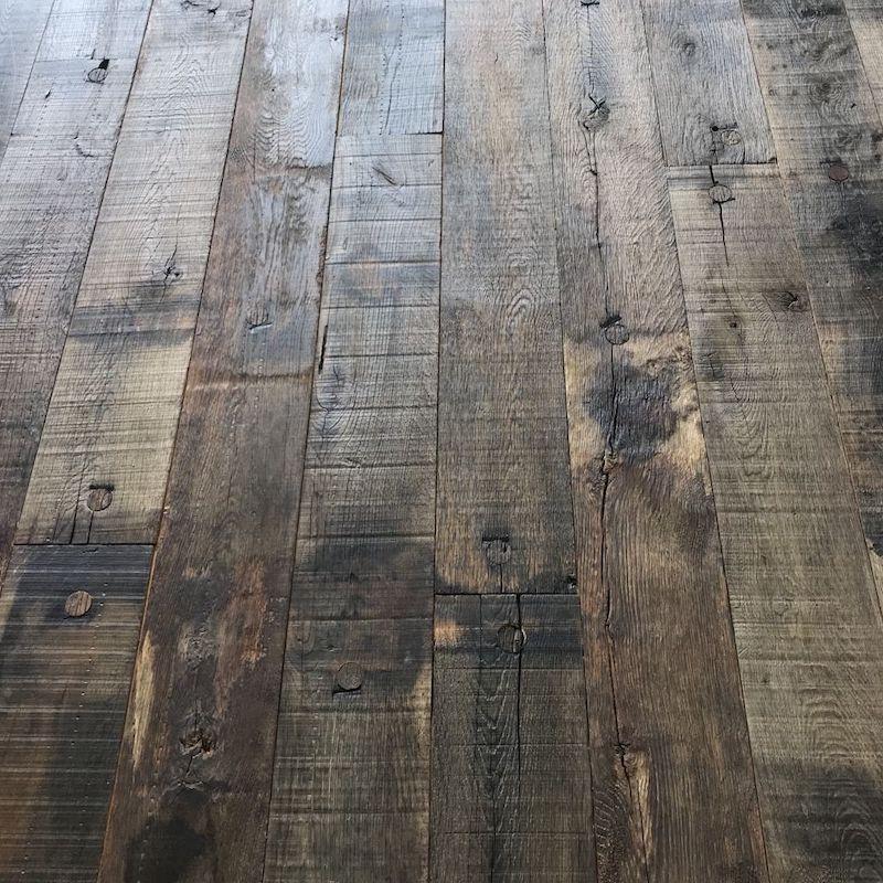 Reclaimed oak railway wagon board flooring