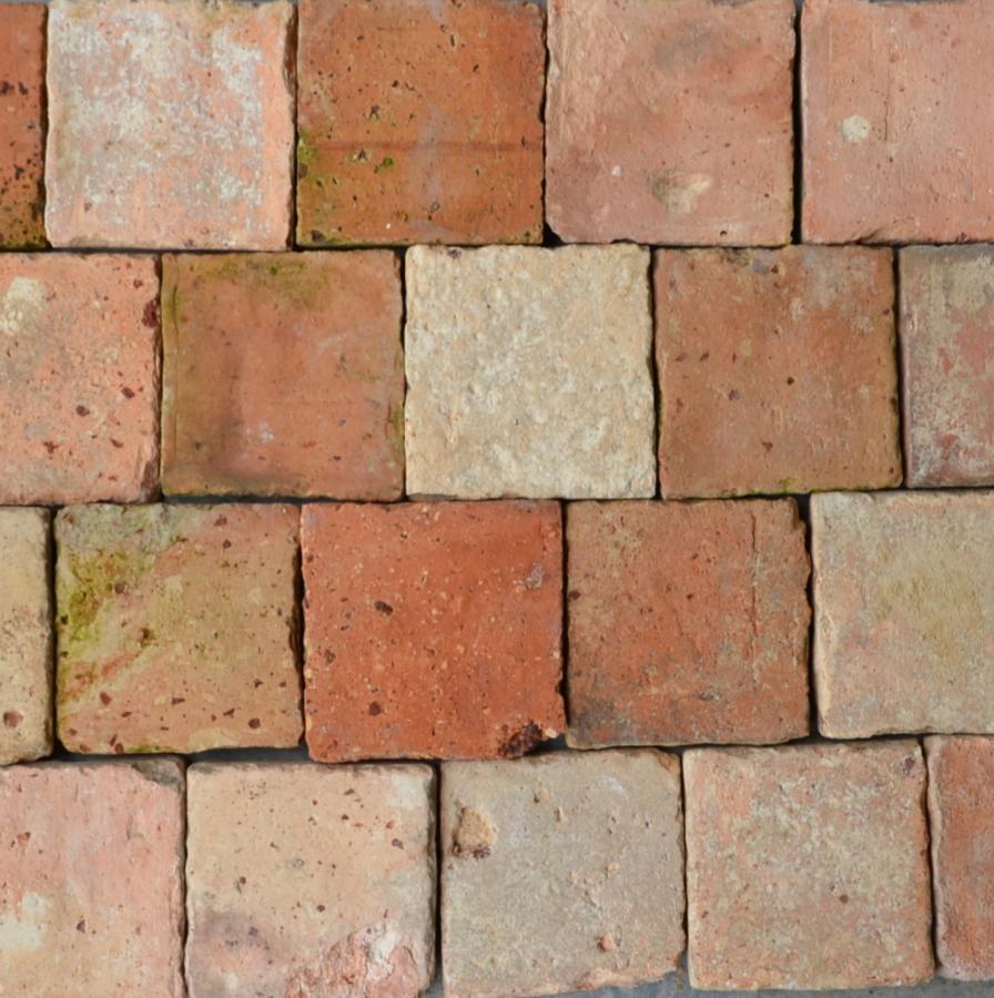 Antique French terracotta tiles 12x12cm