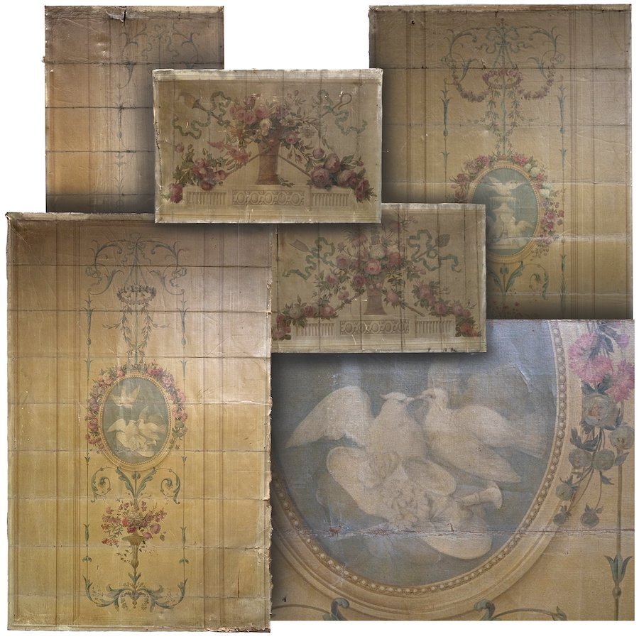 Magnificent Collection of Antique 18th Century Oil on Canvas Murals