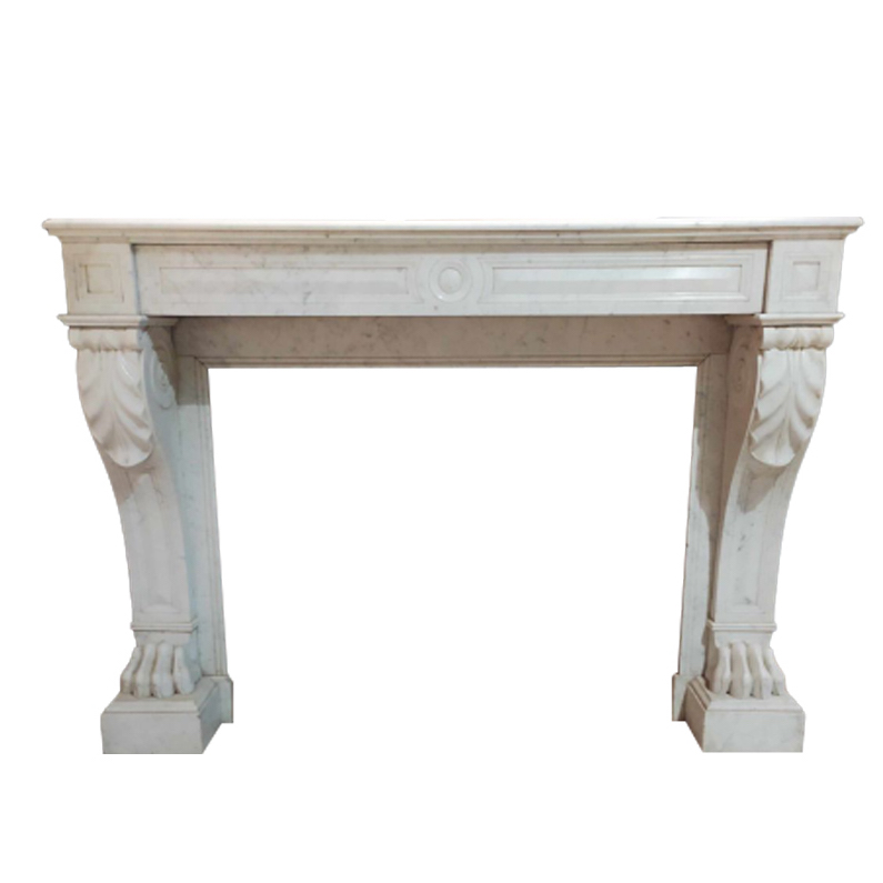Antique Carrera marble fireplace