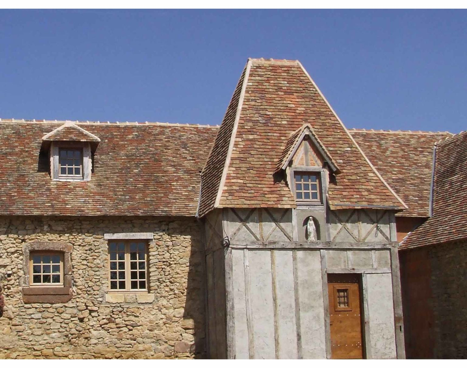 Reclaimed French flat roof tiles